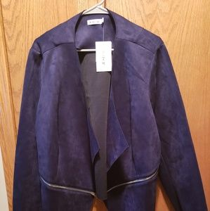 Just Fab Faux Suede Navy Blazer 2x